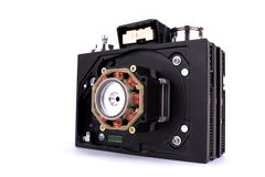 Camera in steampunk style made by hand from different parts and accessory, set stock image