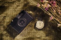 Camera and stopwatch Royalty Free Stock Photo