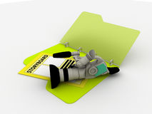 Camera with storyboard. Illustration of video camera and storyboard in a folder Stock Image