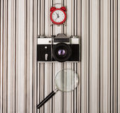 Camera on stripy background Royalty Free Stock Images