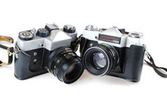 The camera in style of a retro. Is isolated on a white background Royalty Free Stock Image