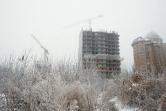 Camera sui rami degli alberi coperti di gru backgroundBuilding del gelo e di nuova costruzione in costruzione sui precedenti o Immagine Stock