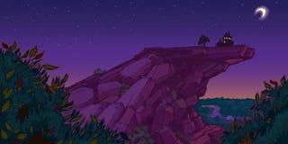 Camera sulla scena di sera della montagna Fotografia Stock