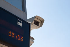 Camera surveillance. Surveillance camera at a bus stop Royalty Free Stock Photography