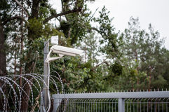 Camera surveillance fence Stock Photos