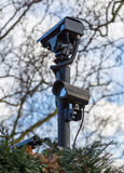Camera surveillance for security on a plot of land Royalty Free Stock Photo