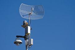 Camera. Surveillance system composed of a camera, a siren and video signal transmitter Royalty Free Stock Photos