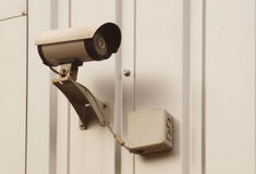 Camera surveillance on the wall of the building. stock image