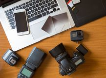 Camera on table in photographer desk stock images