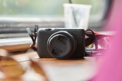 Camera on a table Royalty Free Stock Images