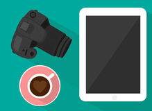 Camera tablet and coffee Royalty Free Stock Images