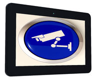 Camera Tablet Shows CCTV and Web Security Royalty Free Stock Image