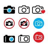 Camera, taking photos, no camera sign vector icons set Stock Photos