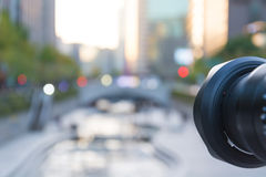 Camera taking shot with Cheonggyecheon Stream background Stock Photos