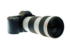 Camera with a telephoto lens Royalty Free Stock Photography