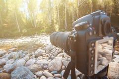 Camera with telephoto lens Stock Photo