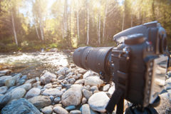 Camera with telephoto lens Stock Images