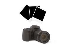 Camera and three foto from their Royalty Free Stock Photos