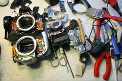 Camera tool repair Royalty Free Stock Photo