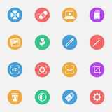 Camera tools vector flat icons on the color substrate set of 16. On white background Vector Illustration