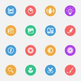 Camera tools  vector flat icons on the color substrate  set of 16. On white background Stock Image