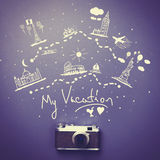 Camera and travel route Stock Images