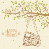 Camera and tree. Illustration retro camera hanging on a branch tree Stock Photo