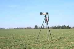Camera on tripod Stock Photos
