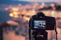 Camera on the tripod Stock Photography