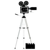 Camera tripod over white. For adv or others purpose use Stock Image