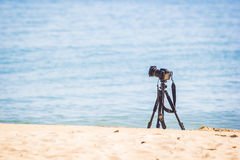 Camera on a tripod placed Royalty Free Stock Photography