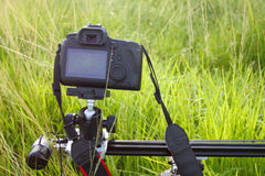 Camera on a tripod. Camera on a tripod recording a green meadow in the morning Stock Images