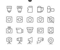 Camera UI Pixel Perfect Well-crafted Vector Thin Line Icons Royalty Free Stock Photo