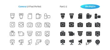 Camera UI Pixel Perfect Well-crafted Vector Thin Line And Solid Icons 30 2x Grid for Web Graphics and Apps. Simple Minimal Pictogram Royalty Free Stock Images
