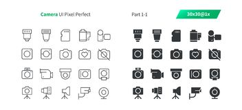 Camera UI Pixel Perfect Well-crafted Vector Thin Line And Solid Icons 30 1x Grid for Web Graphics and Apps. Simple Minimal Pictogram Royalty Free Stock Images