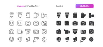 Camera UI Pixel Perfect Well-crafted Vector Thin Line And Solid Icons 30 3x Grid for Web Graphics and Apps. Simple Minimal Pictogram Stock Photos