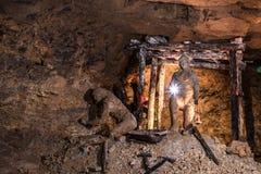 Camera in una miniera d'argento in Tarnowskie sanguinoso, sito di eredità dell'Unesco Fotografia Stock