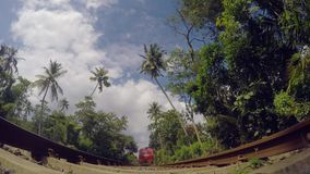 Camera under the passing train. Wide angle stock video