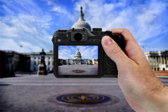 Camera and US Capitol Building Tourist Royalty Free Stock Photography