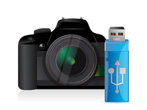 Camera and usb stick Royalty Free Stock Photos