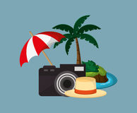 Camera with vacation travel icons image. Flat design camera with vacation travel icons image vector illustration Stock Image
