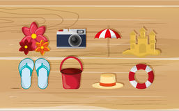 Camera with vacation travel icons image. Flat design camera with vacation travel icons image vector illustration Stock Images