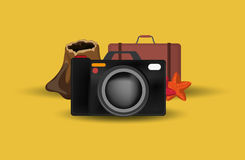 Camera with vacation travel icons image. Flat design camera with vacation travel icons image vector illustration Royalty Free Stock Photography