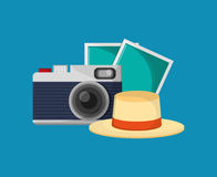 Camera with vacation travel icons image. Flat design camera with vacation travel icons image vector illustration Royalty Free Stock Photos