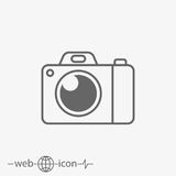 Camera vector icon. On grey background Royalty Free Stock Image