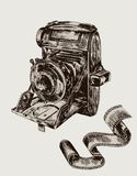 Camera. vector sketch Stock Photo