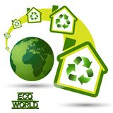 Camera verde di Eco con il riciclaggio del simbolo da W verde Immagine Stock