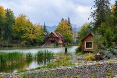 Camera vicino al lago nella foresta, giorno di autunno Immagine Stock Libera da Diritti