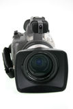 Camera video. Mini DV camera with wide angle lens and pro audio adapter and path saved royalty free stock photos