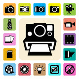 Camera and Video icons set ,Illustration Stock Images